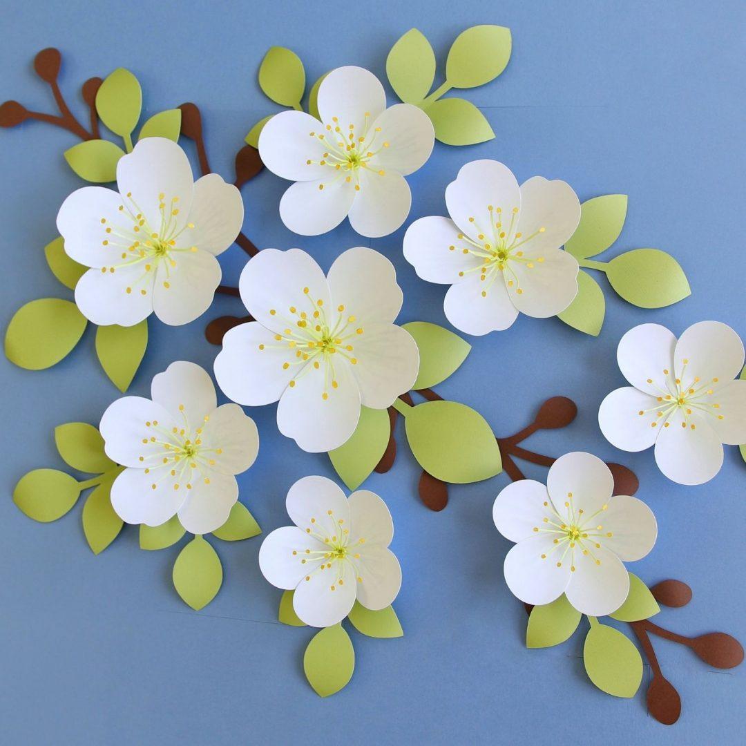 Apple blossom paper flower template